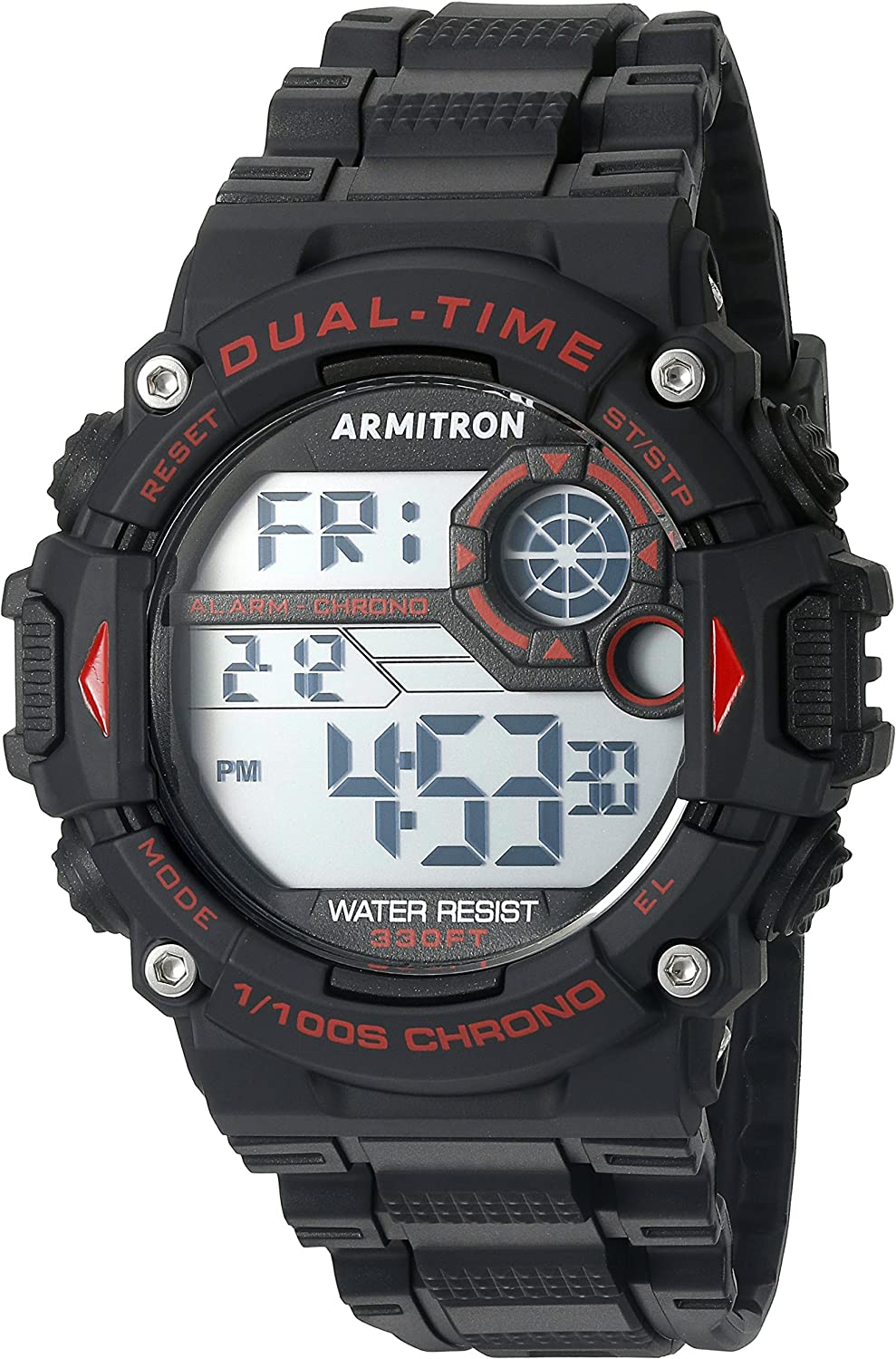 Armitron Sport Men s 40 8356RED Red Accented Digital Chronograph Black Resin Strap Watch