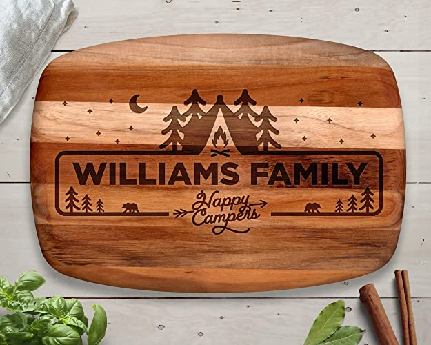 Personalized Teak Cutting Board, Husband Gift, Camping Gift, Camping Decor, Happy Campers, Camping Sign, Camping Gifts, Camping Gear, gifts for him, ...