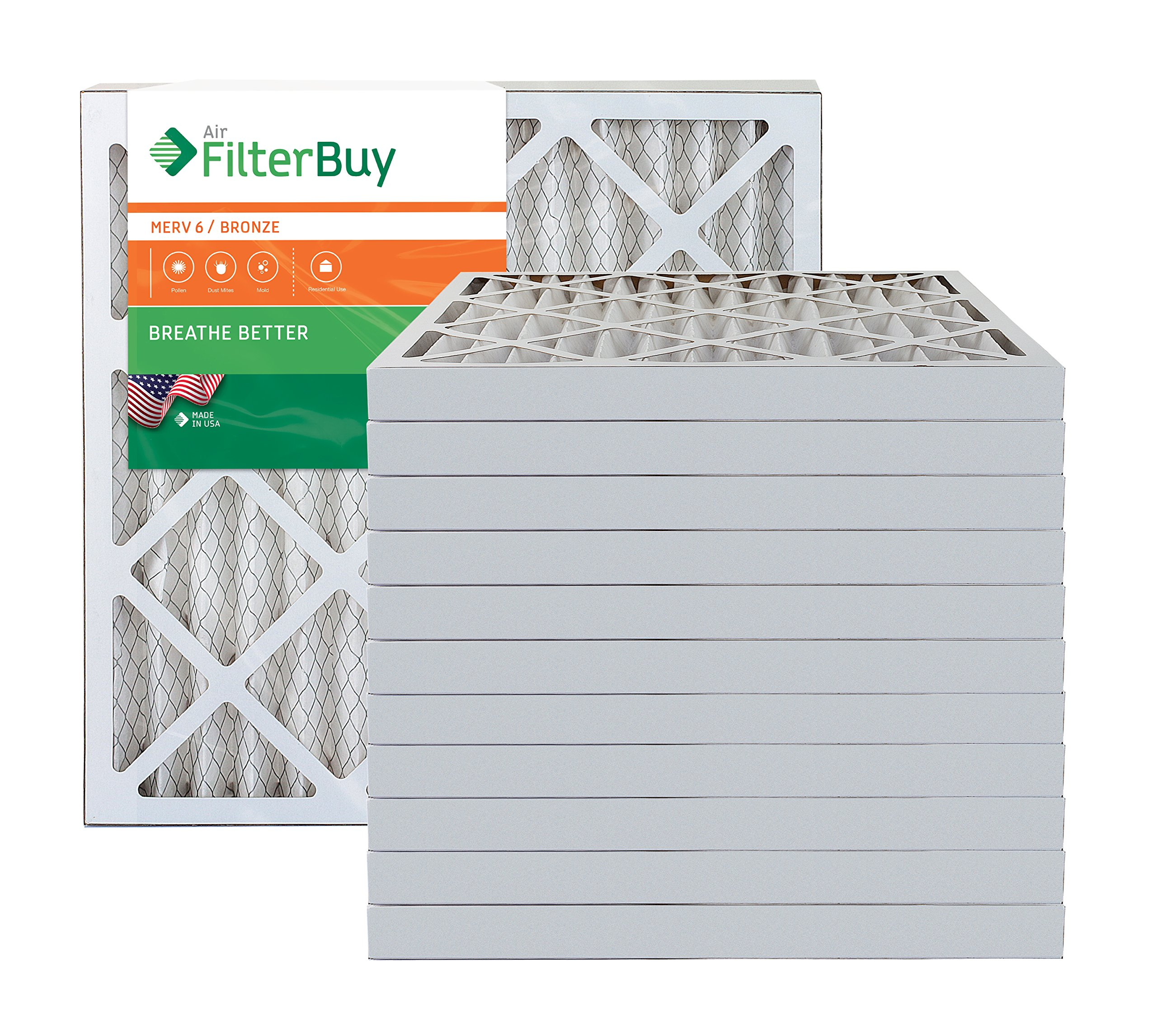 AFB Bronze MERV 6 20x20x2 Pleated AC Furnace Air Filter. Pack of 12 Filters. 100% produced in the USA.