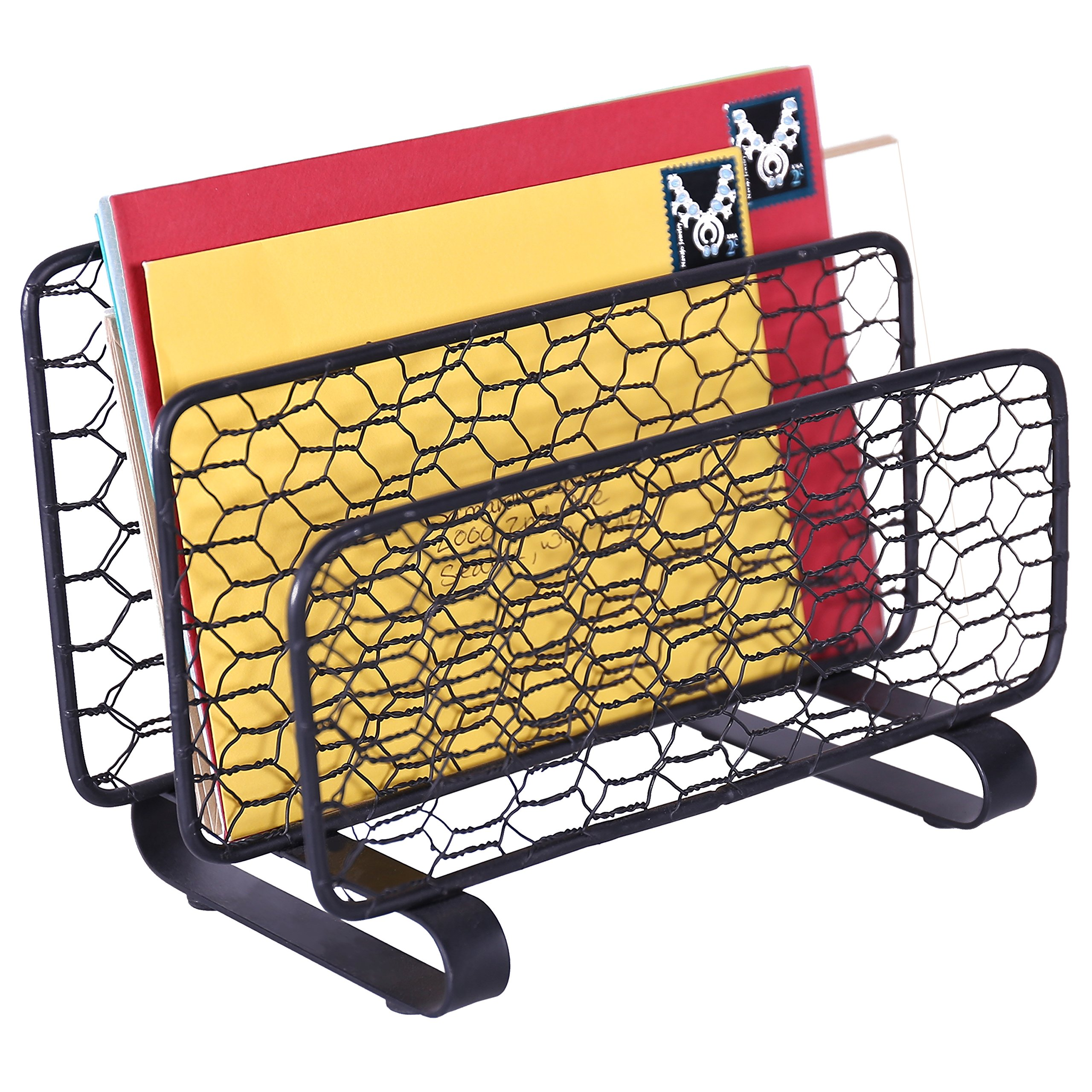 MyGift Black Chicken Wire Mesh Mail Holder / Letter Sorter Desk Accessory