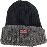Men's Black/Grey Heat Machine Winter Warm Brushed Beanie Thermal Hat