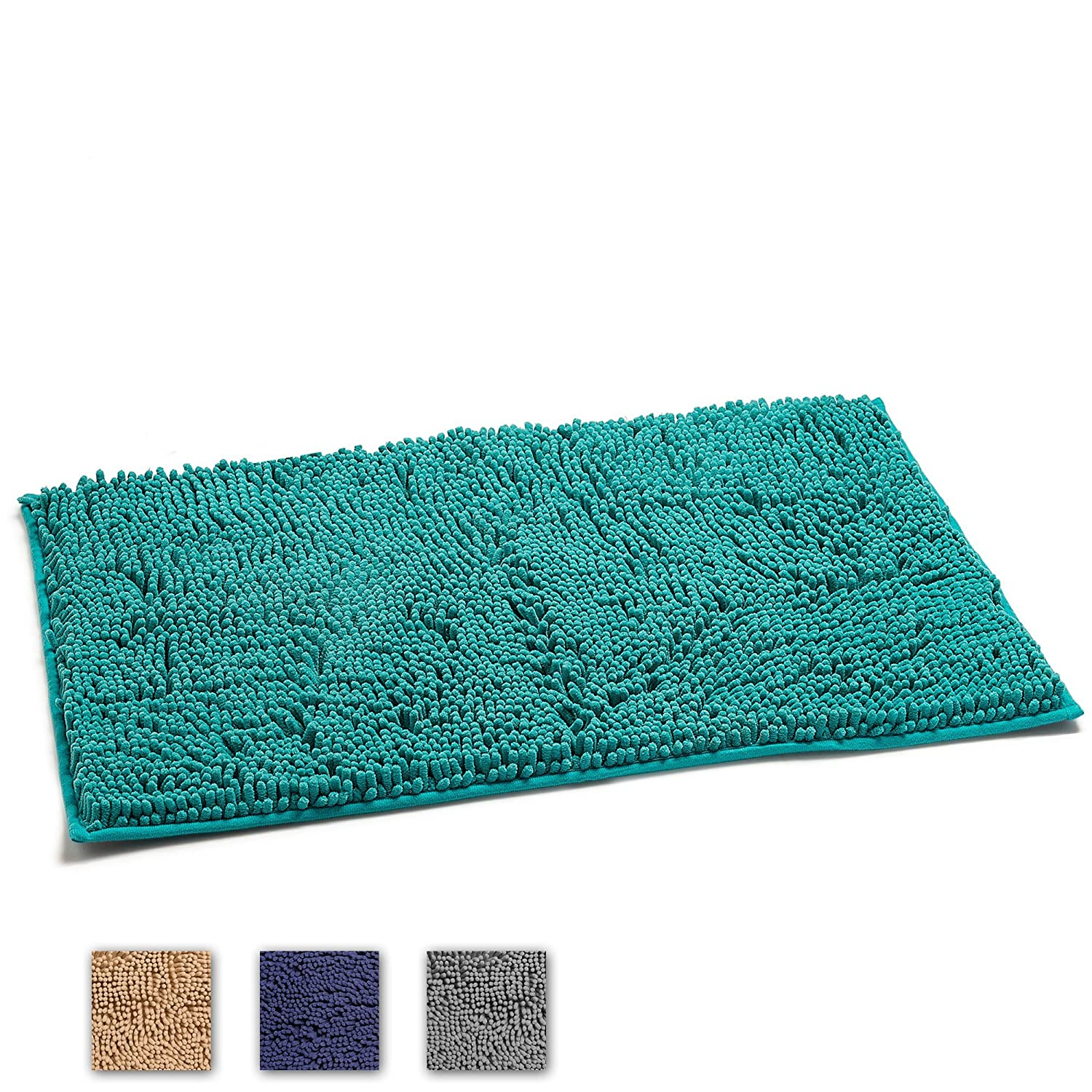 LuxUrux Bathroom Rug Mat –Extra-Soft Plush Bath Shower Bathroom Rug,1'' Chenille Microfiber Material, TPR Surface, Super Absorbent. Machine Wash & Dry (Dark Blue)