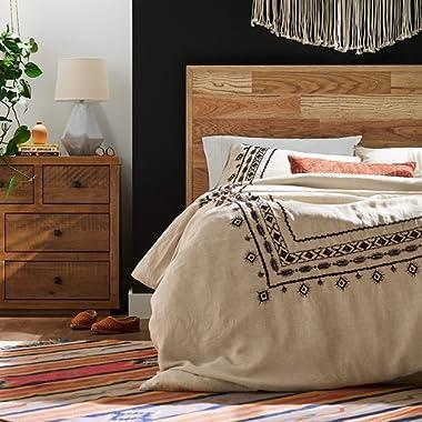 Rivet Global Embroidered Linen Duvet Cover Set, Full / Queen, Black