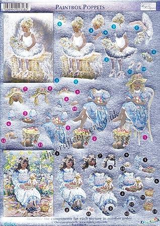 Dufex 3-D Papier Tole Paintbox Poppets 248816 Die-Cut Paper Decoupage