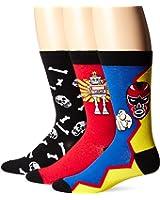 K. Bell Socks Men's Three-Pack Robot Crew Socks