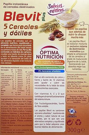 Blevit Plus 5 Cereales y Dátiles - 300 gr: Amazon.es: Alimentación y bebidas