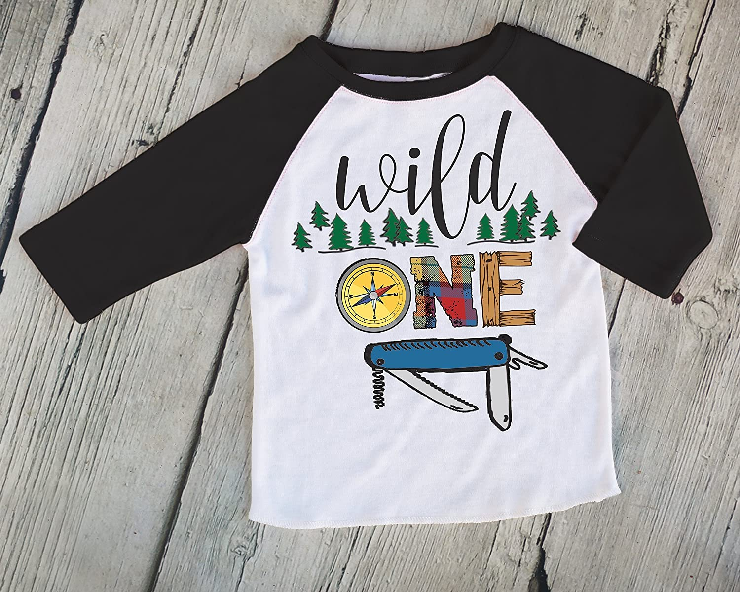 Wild One Boys Outdoorsy Black Raglan Shirt, Cute Boys Shirt, Boys First Birthday Shirt, Boys Baseball Shirt, Boys Raglan Tee