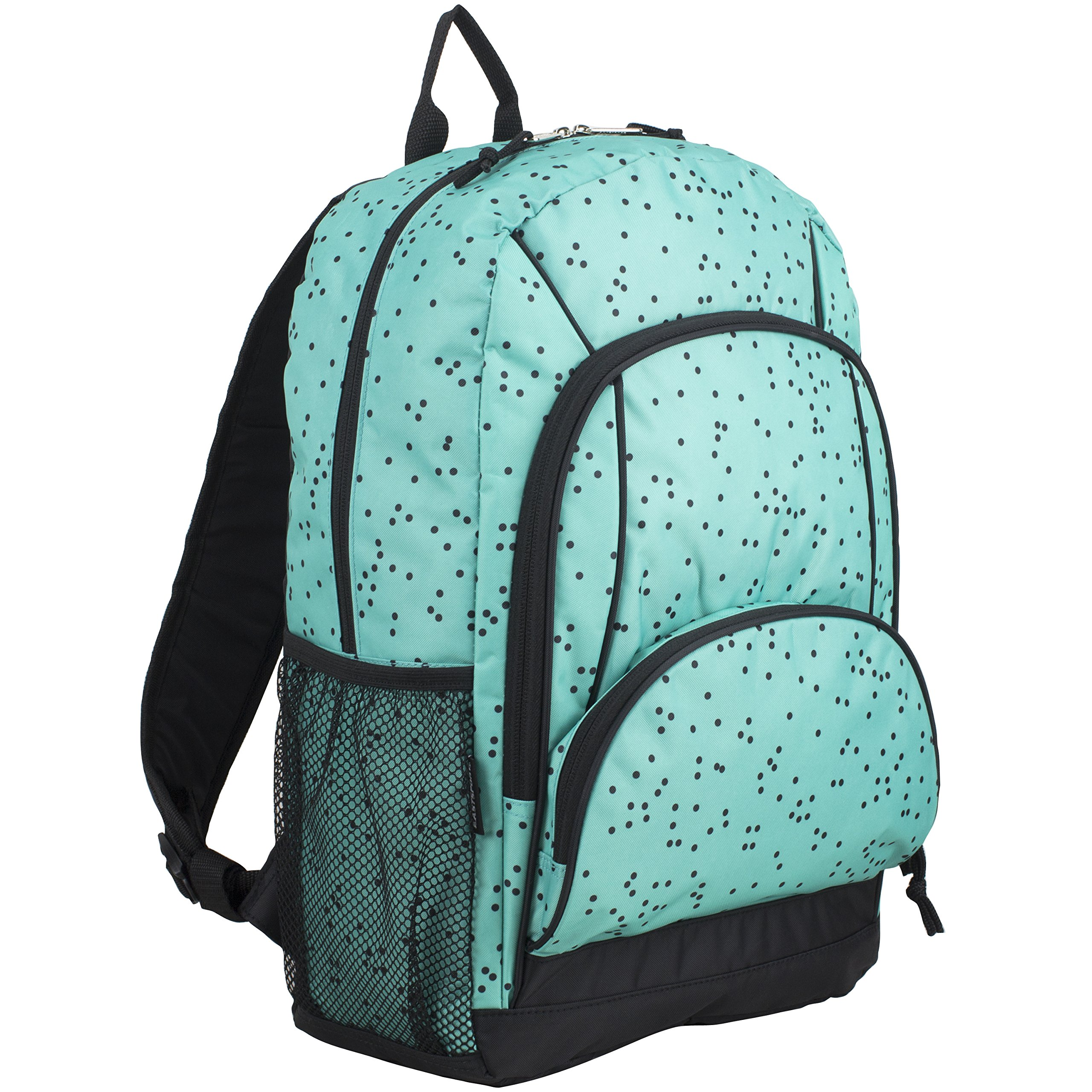 Eastsport Multi Pocket School Backpack, Turquoise/Black Dots Print by Eastsport