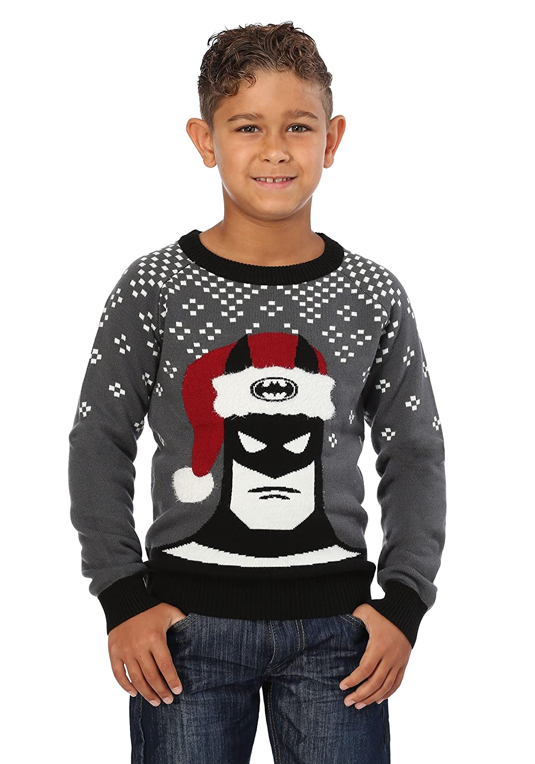 Batman Holiday Hat Kids Ugly Christmas Sweater FunComInc