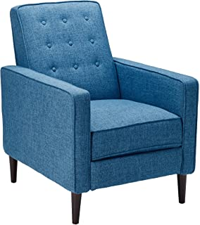 Elegant GDF Studio 300597 Macedonia Mid Century Modern Tufted Back Muted Blue  Fabric Recliner