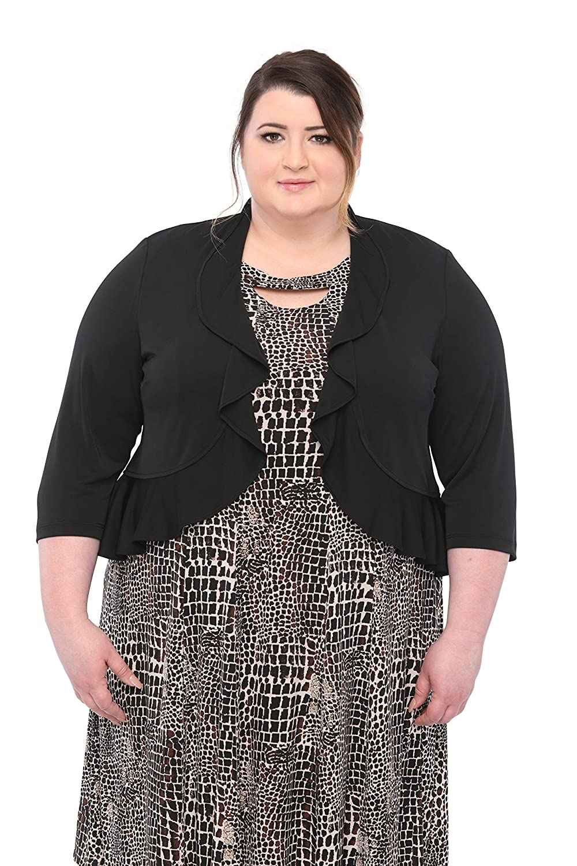 SLEEKTRENDS Plus Size Jacket 3/4 Sleeve Office Ruffled Bolero Shrugs for  Dresses (1X-4X)