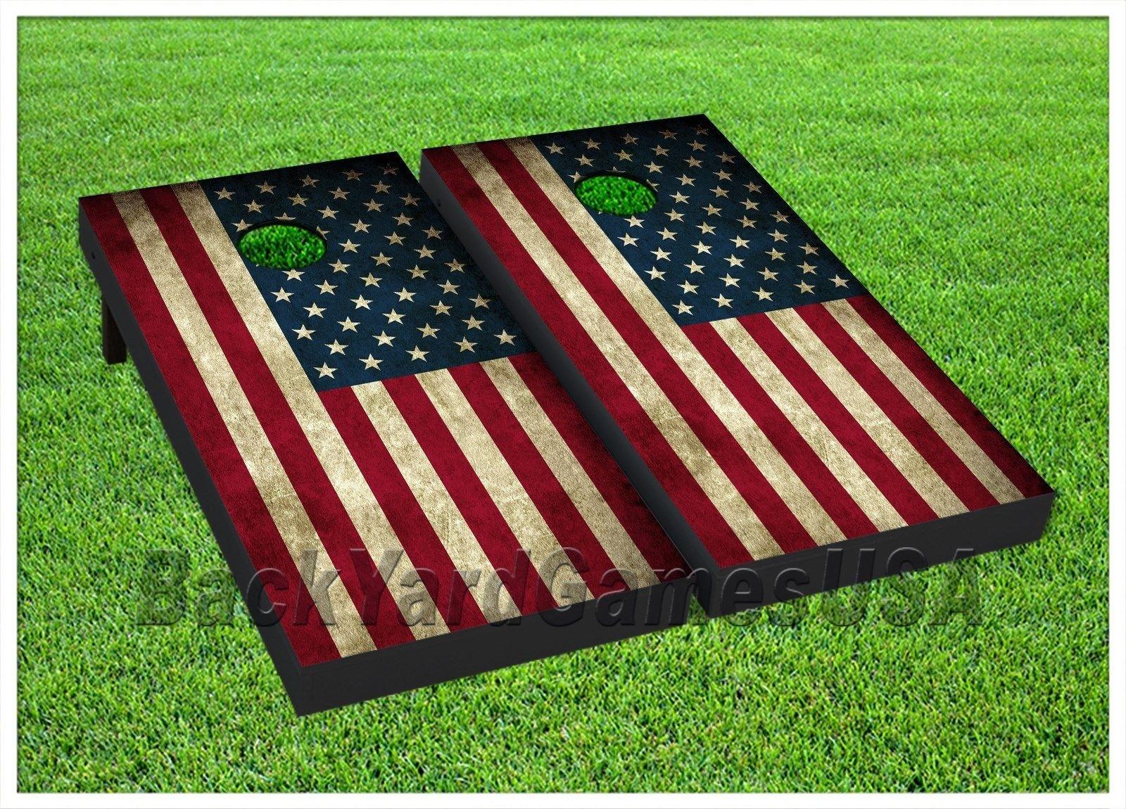 American Flag Patriotic Cornhole Boards BEANBAG TOSS GAME w Bags Vintage USA 402