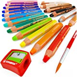 STABILO - Woody 3 in 1 Multi-Media Watercolour Pencils - Jumbo Easy-Grip - Pack of 18 With Sharpener and Brush