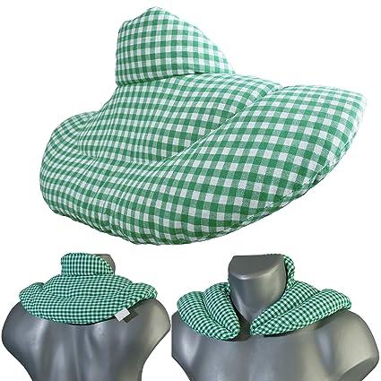 Cojín cervical de calor con cuello. Verde y blanco. Almohada ...