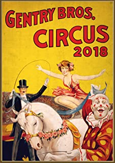 Wall Calendar 2018 12 Pages 8x11 Vintage Circus Athletic Show Poster