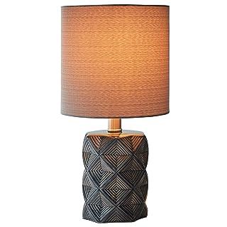 Amazon Brand – Rivet Geo Modern Black Ceramic Living Room Table Desk Lamp With LED Light Bulb - 15 Inches, Grey