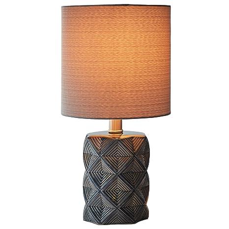 Rivet Geo Diamond Black Modern Ceramic Table Lamp With Bulb 15 H