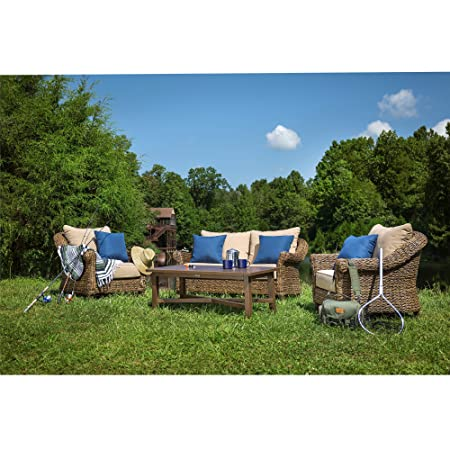 Blue Oak Outdoor Bahamas 4PC Patio Furniture Conversation Set Loveseat, Coffee Table, 2 Lounge Chairs with Sunbrella Canvas Heather Beige Cushions