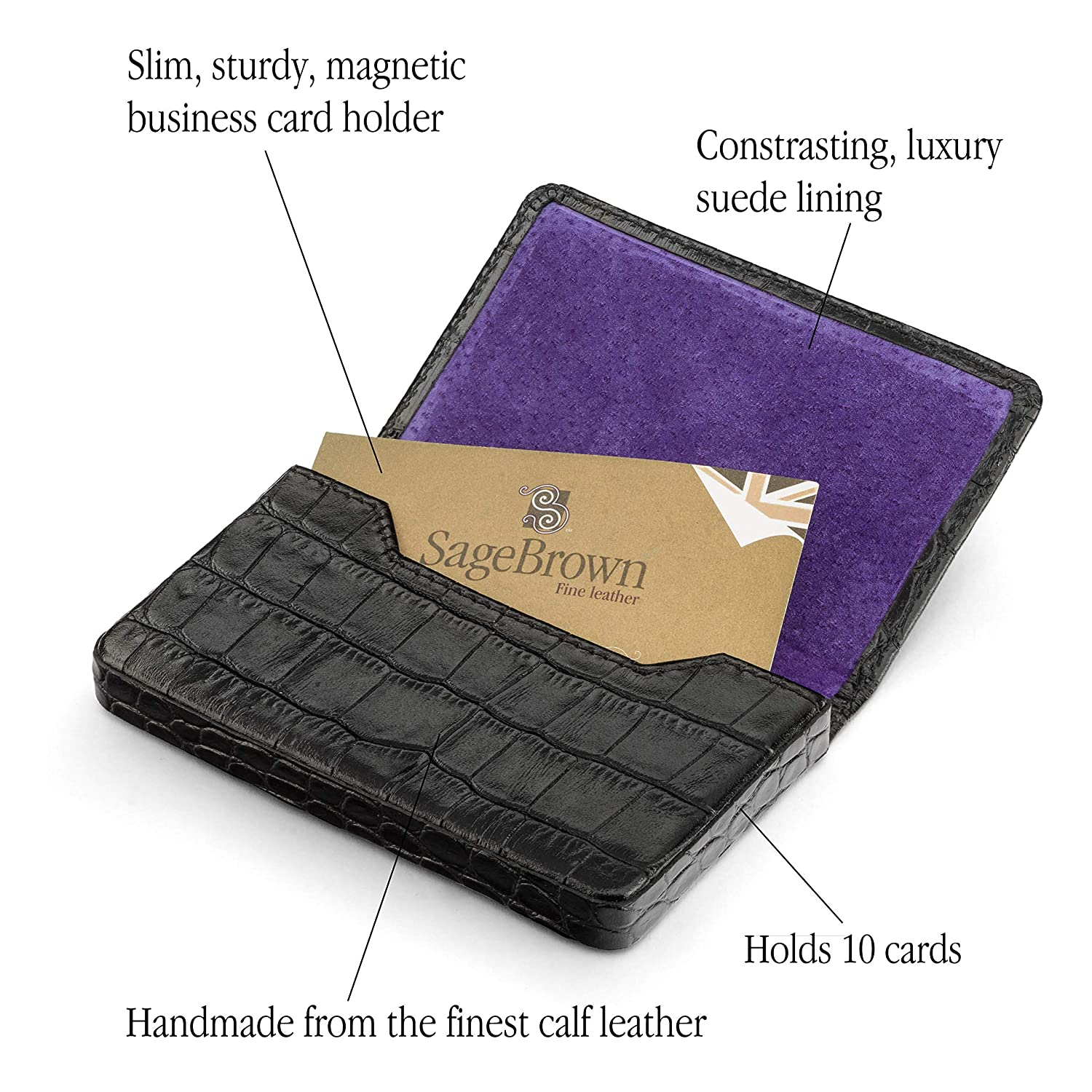 new listing SageBrown Leather Magnetic Business Card Holder ...