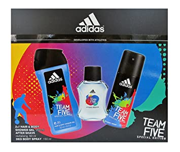 Coffret Homme Adidas TEAM FIVE After Shave, Gel Douche, Déodorant Body Spray