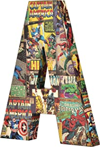 Marvel Retro 10 inch with Printed Comic Book Panels and Covers, Recycled MDF Wood Alphabet Letter Edge Home Products 10 by 1 inch Red Blue Yellow