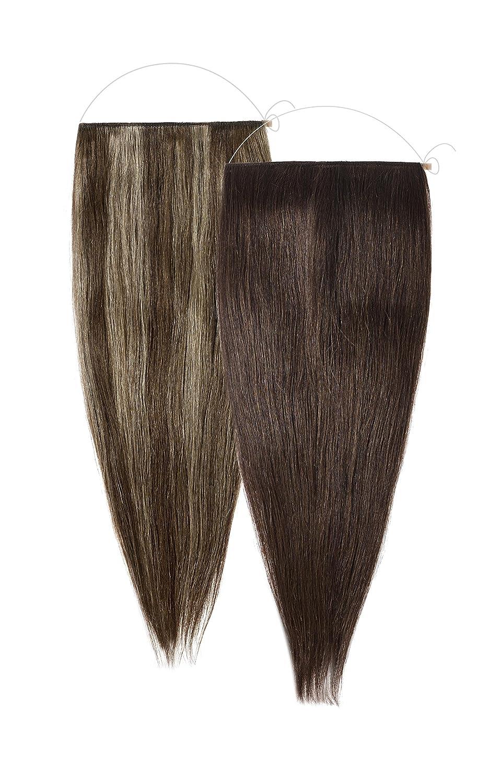 American Dream le Loop Duo Système Réversible d'Extension de Cheveux Grade Aaaa Remi Cheveux Humains Brun Châtain + Bruns Mélangés/Blond Cendré Naturel M2/LOOP/80G/18/4+4/6/14
