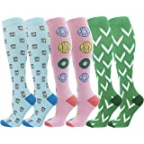 3 Pairs Compression Socks for Women & Men 20-30mmHg Graduated Medical Compression Stockings for Nursing Shin Splints Flight Travel Maternity Pregnancy Athletic Stamina Circulation Recovery