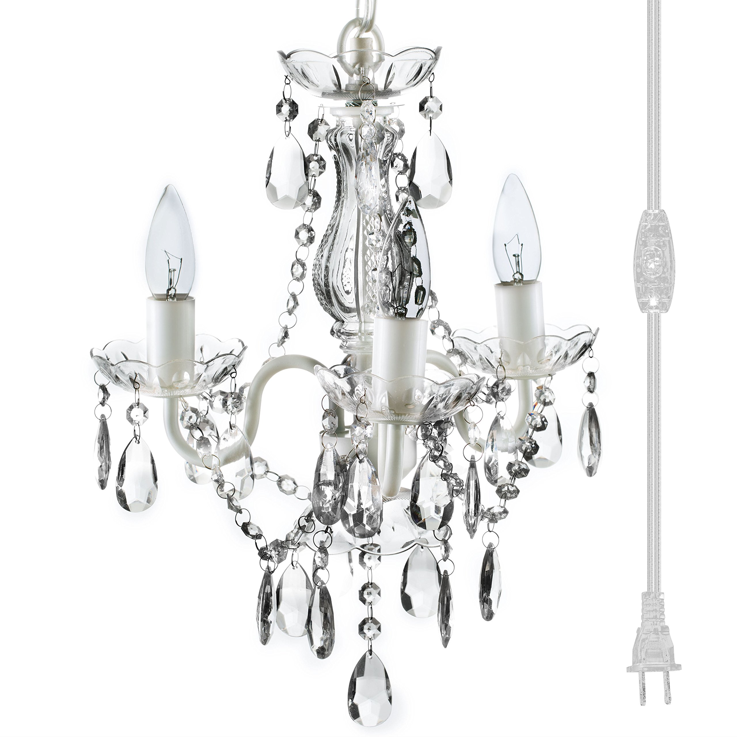 The original gypsy color 3 light mini plug in crystal chandelier for h17 w12