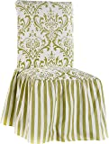 Classic Slipcovers CSI Damask Ruffled Dining Chair Cover, Green Stripe