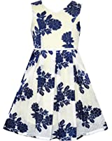 Girls Dress Navy Blue Flower Pearl Band Age 4-10 Years