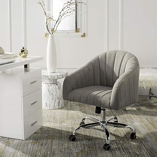 Safavieh Home Themis Grey Linen and Chrome Leg Swivel Office Chair