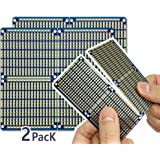"""ElectroCookie Snappable PCB, Strip Board with Power Rails for Arduino and Electronics, Gold-Plated, 3.8""""x3.5"""" (2 Pack…"""