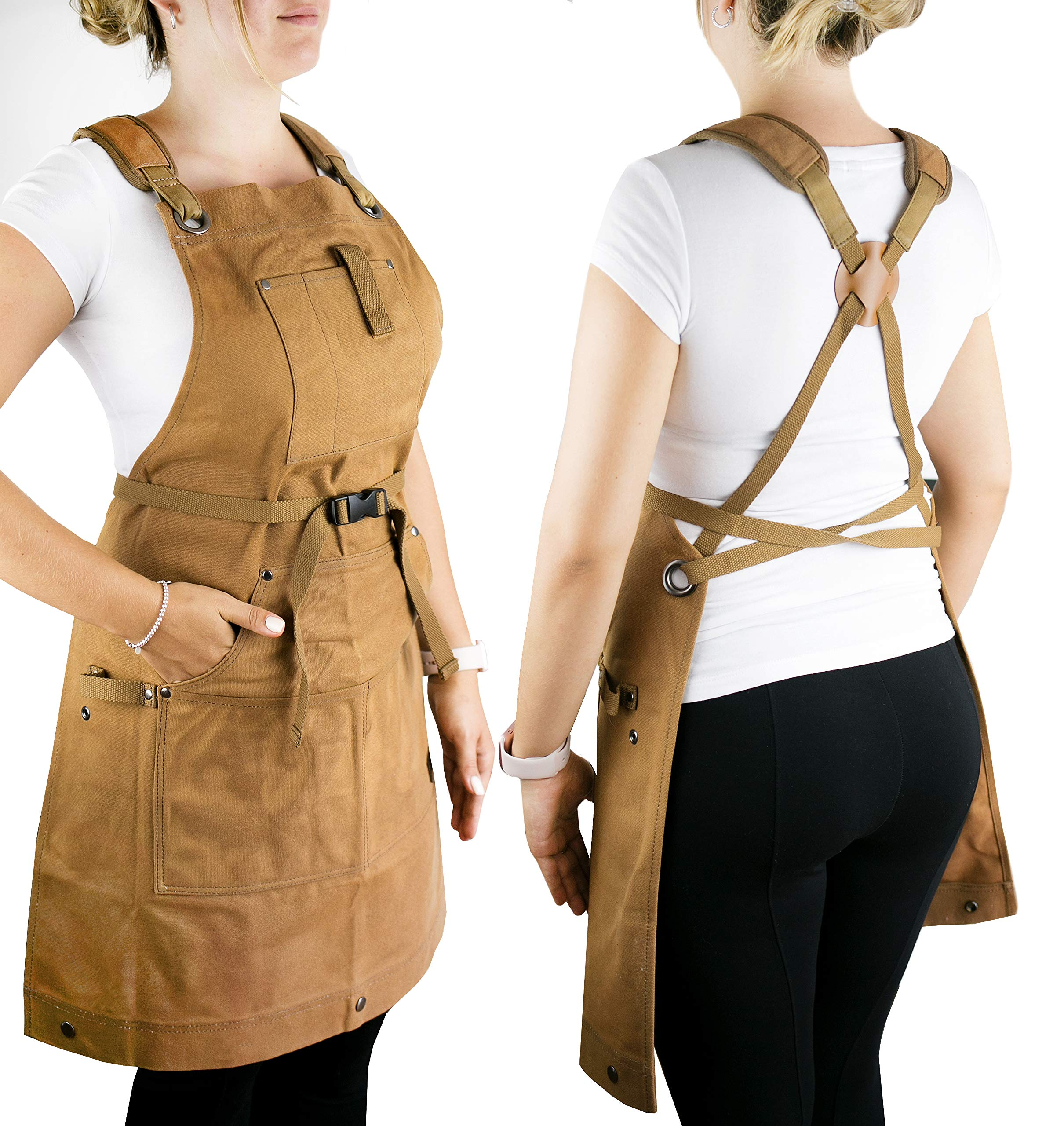 Waterproof Canvas Work Apron for Men and Women, Heavy-Duty Waxed for Durability and Safety - Brown by NomadFox (Image #3)
