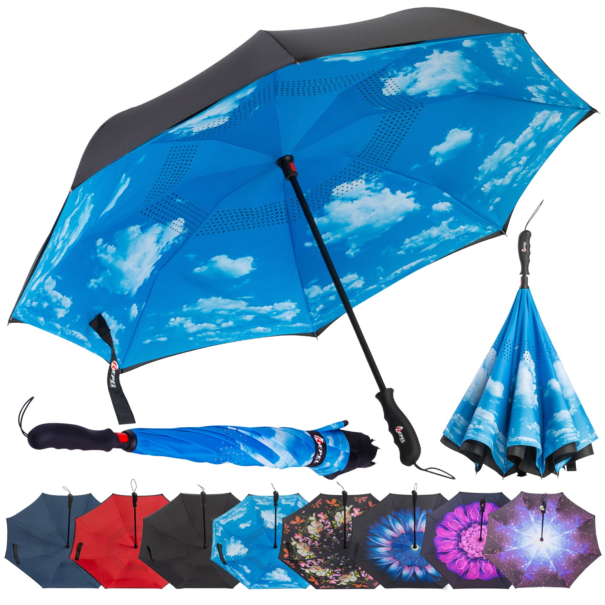 Repel Reverse Folding Inverted Umbrella with 2 Layered Teflon Canopy and Reinforced Fiberglass Ribs (Blue Sky) by Repel Umbrella