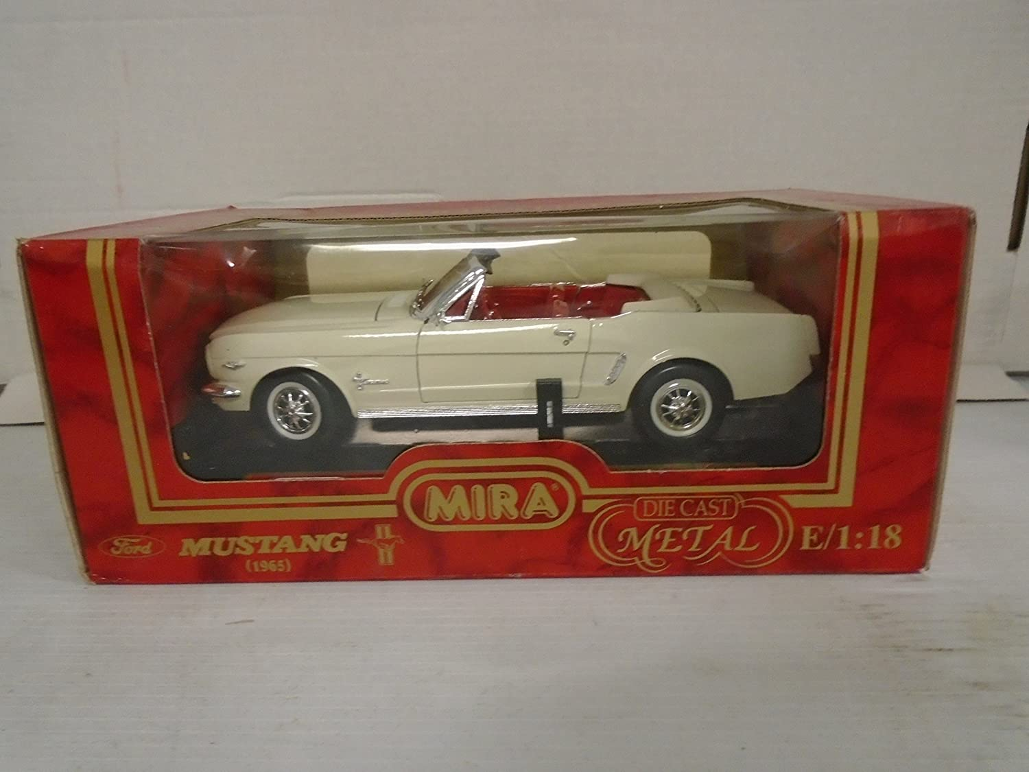 Amazon com mira golden line collection 118 scale 1965 ford mustang white die cast metal toys games