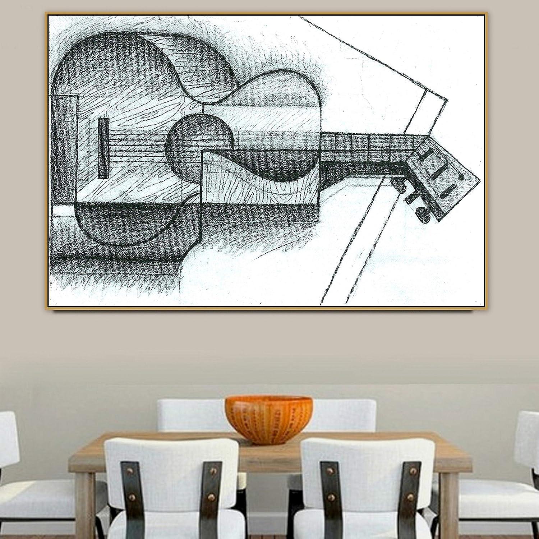 PLjVU Antiguo Maestro Pintor Famoso español Guitarra Lienzo Pintura Cartel Impreso Usado para Sala de Estar decoración de Pared Arte de Pared-Sin marco30x45cm