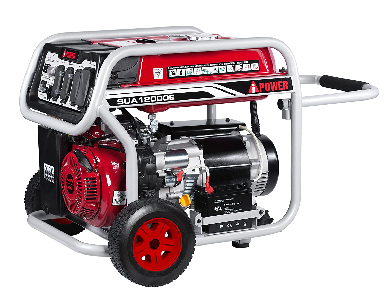 A Ipower Sua12000e 12 000 Watt Portable Generator Gas 7500 Wiring Diagram And Parts List Powered Electric Start Red Garden Outdoor