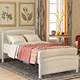 Twin Bed Frame, Wood Platform Bed with Headboard, Footboard and Wood Slat Support, White