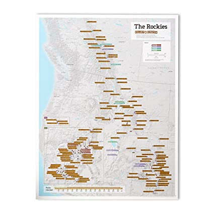 Maps International - Scratch Off Rocky Mountain Peaks Map Print - 17 x 22  inches