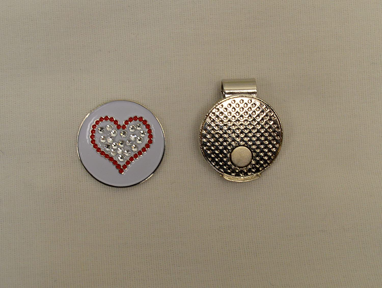 Evergolfクリスタルレッドハートゴルフボールマーカーと磁気帽子クリップ – 13767   B07345W2T2