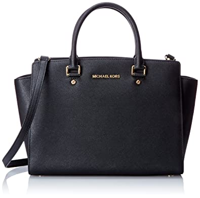 MICHAEL Michael Kors Women's Selma Large TZ Satchel, Black, One ...