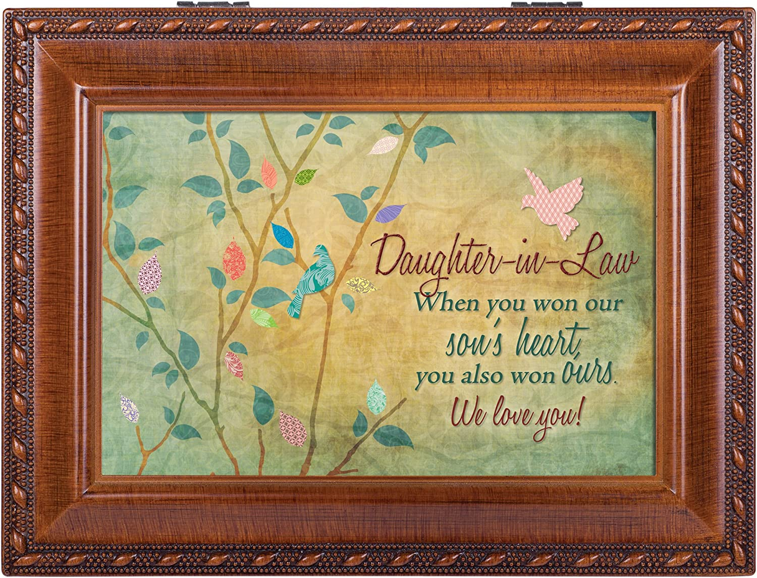 Plays You Light Up My Life Cottage Garden MB1996 Daughter-in-Law Rich Woodgrain Finish Jewelry Music Box