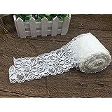 Yulakes, nastro in pizzo floreale bianco e perline lungo 9,1 m, elasticizzato, nastro in pizzo intrecciato per decorazioni da matrimonio, per la sposa, nastro per artigianato largo 7cm White