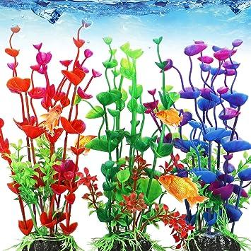 Tacobear - Adorno para acuario, decoración de acuario, color degradado, decoración de peces, planta de plástico artificial: Amazon.es: Hogar