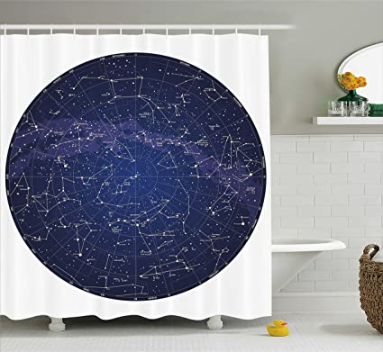 Ambesonne Constellation Shower Curtain High Detailed Sky Map Of Northern Hemisphere With Names Stars