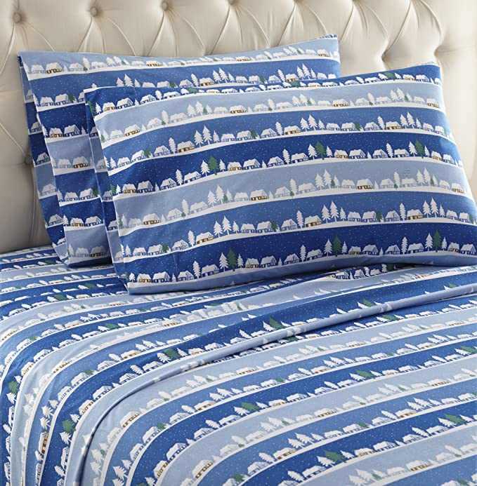 Thermee Micro Flannel Shavel Home Products Sheet Set California King Alpine Village Home Kitchen Amazon Com