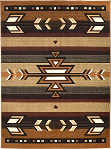 Rugs 4 Less Collection Southwest Native American Indian Area Rug Design R4L SW1 in Beige Berber 5 x7