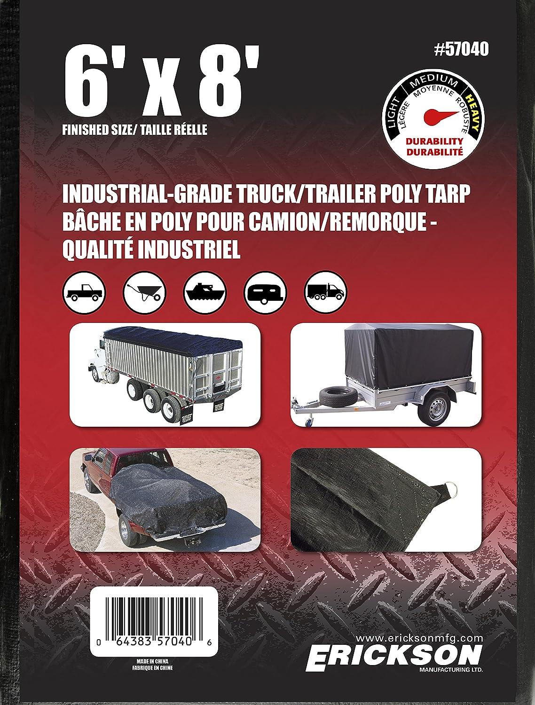 6 x 8 6/' x 8/' Erickson 57040 Black Industrial Grade Truck//Trailer Poly Tarp
