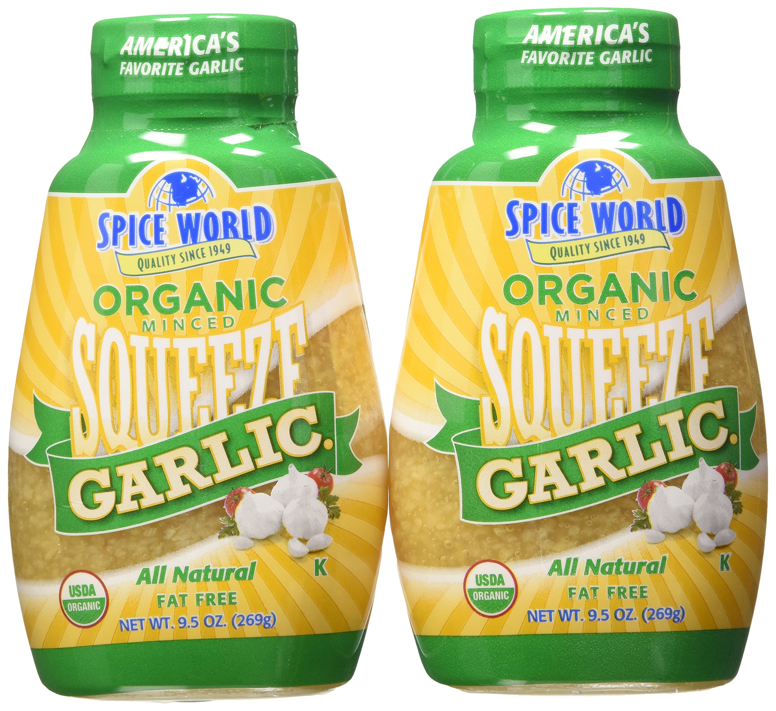 Spice World Garlic, Organic Minced, Squeeze Bottle 9.5 Oz. (Pack of 2)