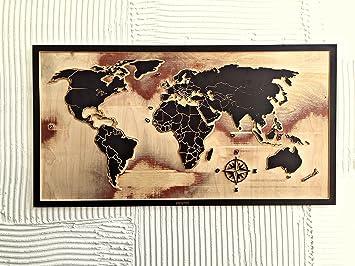 Bureau Bois Maison Du Monde : Day dream carte du monde du bois noir cadeau original cadeaux